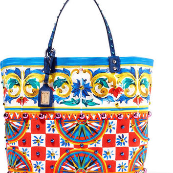 Dolce & Gabbana - Textured leather-trimmed embellished printed canvas tote
