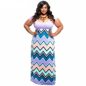 Women Short Sleeve Chevron Maxi Dress