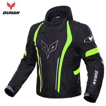 DUHAN Motorcycle Jackets Men Racing clothing  Waterproof and warmth Jacket Moto Protective Spine Chest Protective coat, D-205