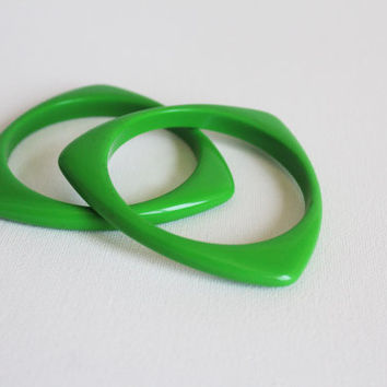 Pair of Atomic Age Green Lucite Triangle Bangles