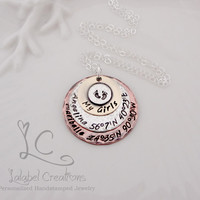 My Girls Personalized Necklace, Baby Foot Prints, Stacked Discs, Hand Stamped, Kids Names, Hand Stamped Jewelry, Personalized Gifts for Her