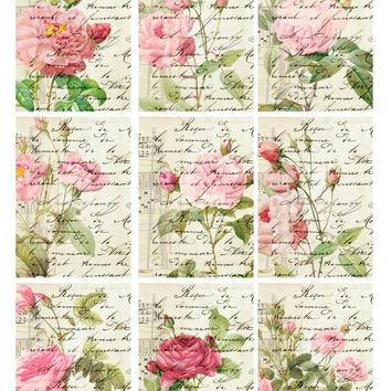 CREME ROSES Peony French Text Garden - Digital Collage Sheet - Vintage Bakery - Gift Tags  Jewelry - Altered Art Greeting