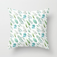 Watercolor Teal Green Teal Blue Leaves Pattern Throw Pillow by DazzetteMarie