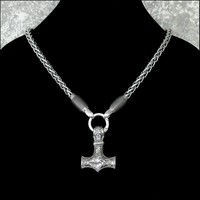 Large Viking Inspired Mjolnir Hammer on Thick Viking Braid Chain Necklace with Sculpted Chain Ends