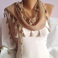 Light Brown Scarf - Brown Tassel Scarf - Bohemian Scarf - Scarf With Tassels - Summer Spring Women Fashion