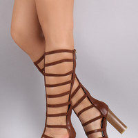 Bamboo Caged Open Toe Gladiator Chunky Heel