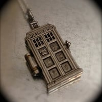 Doctor Who TARDIS Silver Tone Interpreted Locket Necklace