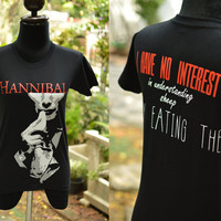Hannibal t shirt front and back side I have no interest in understanding sheep, only eating them T-shirt Short Sleeve