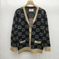GUCCI Popular Women Print Long Sleeve Button Knit Pocket Cardigan Jacket Coat