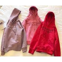 Burberry Women Embroidery LOGO Pullover Hoodie