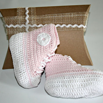 Gift boxed baby crochet pink cotton high top booties crib shoes boots Sizes from newborn to 6 months