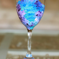 Mermaid Fin Wine Glass: Mermaid Scales Hand Painted Wine Glass