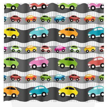 Cars SHOWER CURTAIN Boy Cars Custom MONOGRAM Transportation Personalized Bathroom Decor Bath Beach Towel Plush Bath Mat Made in Usa