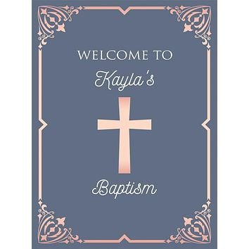 Custom Religious Christian Elegant Frame First Baptism Backdrop (Any Color) Background - C0281