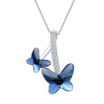 "925 Sterling Silver CZ ""Butterfly Lover"" Made with Swarovski Crystals Pendant Necklace Denim Blue"