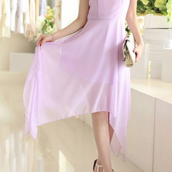 Purple Sleeveless Chiffon Dress