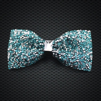 Fashion Men's Green Crystal Bow Tie luxurious Adjustable Neck wear For Men Party Business Wedding Groom