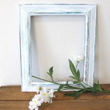 Picture Frame, Distressed Photo Frame, Rustic wooden Frame Turquoise & White 8x10 Photo Frame Shabby chic frame, Wedding frame, Beach decor
