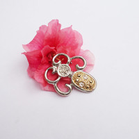 Vintage Silver and Gold Brooch with Clear Rhinestone, UK Seller