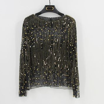 Sexy Sequined Bead Sheer Mesh Lace Long Sleeve Shirt Vintage Diamonds Embroidery Embellished Blouse Top Women Tunic