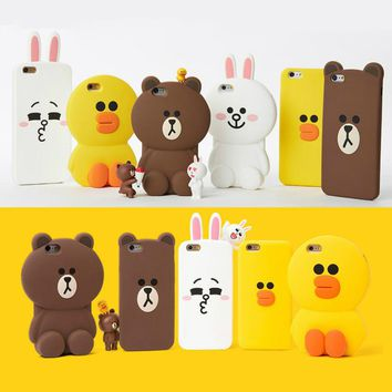 Cute 3D Cartoon Cony Sally Bear Rabbit Chicken Phone Case for iPhone 5 5s SE 6 6s 7 7 Plus 8 8 Plus Soft Silicone Cover Fundas