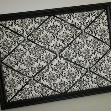 Madison Black & White Damask fabric ~ Framed Memo Board