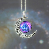 Galaxy Moon Pendant & Necklace - 6 Options