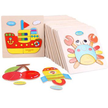 ac NOOW2 Wooden 3D Puzzle Jigsaw Wooden Toys For Children Cartoon Animal Puzzle Intelligence Kids Educational Toy Toys