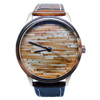 Mens Wood Watch, Mens Brown Genuine Leather Watch, Wood Watch