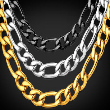 Chunky Necklace Men Jewelry 2016 New Stainless Steel/Black Gun/Gold Color 9MM Long Figaro Chain Kpop Collares GN2011
