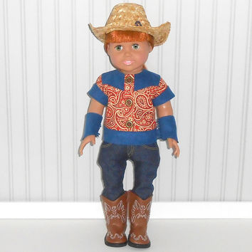 Cowboy Halloween Costume with Rust Shirt and Jeans for 18 inch Doll Clothes with Cowboy Hat Optional Brown Cowboy Boots