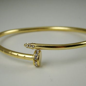 Cartier Inspired Twisted Nail Bracelet Gold, Twisted Nail Bangle, Edgy, Celebrity Jewelry