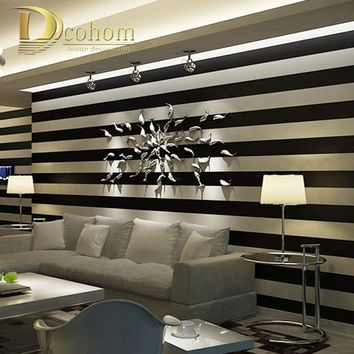 Pink Black White Deep Embossed Vertical Stripes Wallpaper For Walls 3 D Minimalist Designs Flocked Stripe Wall paper Modern