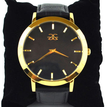 The Vigilate Leather Watch in Gold