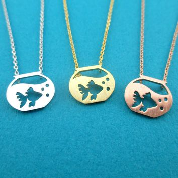 Goldfish in a Fish Bowl Silhouette Shaped Pendant Necklace in Silver Gold or Rose Gold