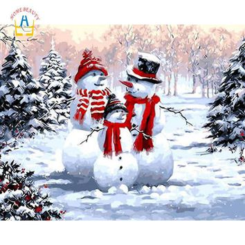 Christmas snow man paintings drawing by numbers on canvas hand painted wall art pictures for living room home decoration WYA134