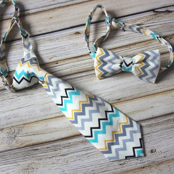 Cream, Mustard, Gray, Black and Teal Chevron Neck Tie or Bow Tie  (BowTie) for Baby, Infants, Toddlers, Youth, Boys, Men