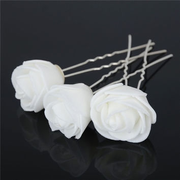 6X Women Rose Flower Hair Pins Wedding Bridal Flowers Accessory = 1933024964