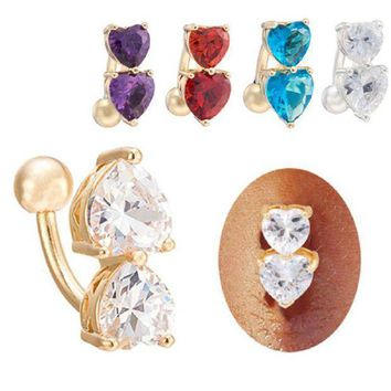 ac PEAPO2Q Sexy Love Heart Belly Bars Belly Button Rings Belly Piercing Zircon Party Crystal Body Jewelry Navel Piercing Rings boho Women