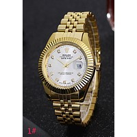 Rolex Trending Ladies Men Stylish Watch Stainless Steel Wrist Watch Golden Watchband White Dial I-YY-ZT