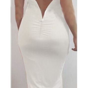 White Burgundy Wine Sleeveless Scoop Neck V Back Bodycon Midi Dress