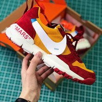 Off White X Tom Sachs X Nikecraft Mars Yar 2.0 Red Yellow White Sport Running Shoes - Best Online Sale