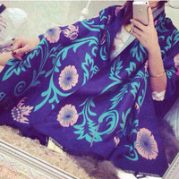 Purple Floral Long Scarf