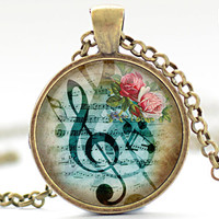 G-Clef Necklace, Music Note Charm, G-Clef Jewelry, Musical Pendant (1172)