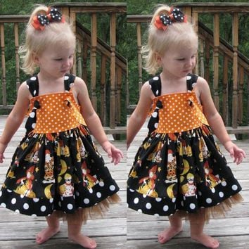 Infant Toddler Baby Girls Costumes Pumpkin Bow Party Dress Halloween Clothes Dresses Toddler Baby Clothes Children's Clothing