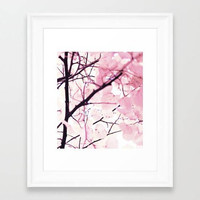 Pink pattern minimalist decor, fine art print, pink Zen botanical art print, pink leaves landscape, Zen yoga room fine art