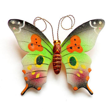 4ccfeae51310e Vintage Sugared Butterfly Brooch - Textured Enamel - Korea Korean - Painted  Butterfly - Spring Summer