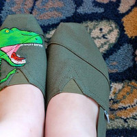 Painted Shoes Dinosaur Comics Style by JamboreeShop on Etsy
