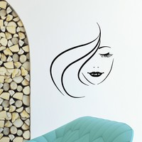 Wall Decal Vinyl Sticker Beauty Girl Hair Salon Spa Decor Sb477