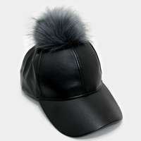 Faux Leather Fur Pom Pom Baseball Hat - Black/Grey